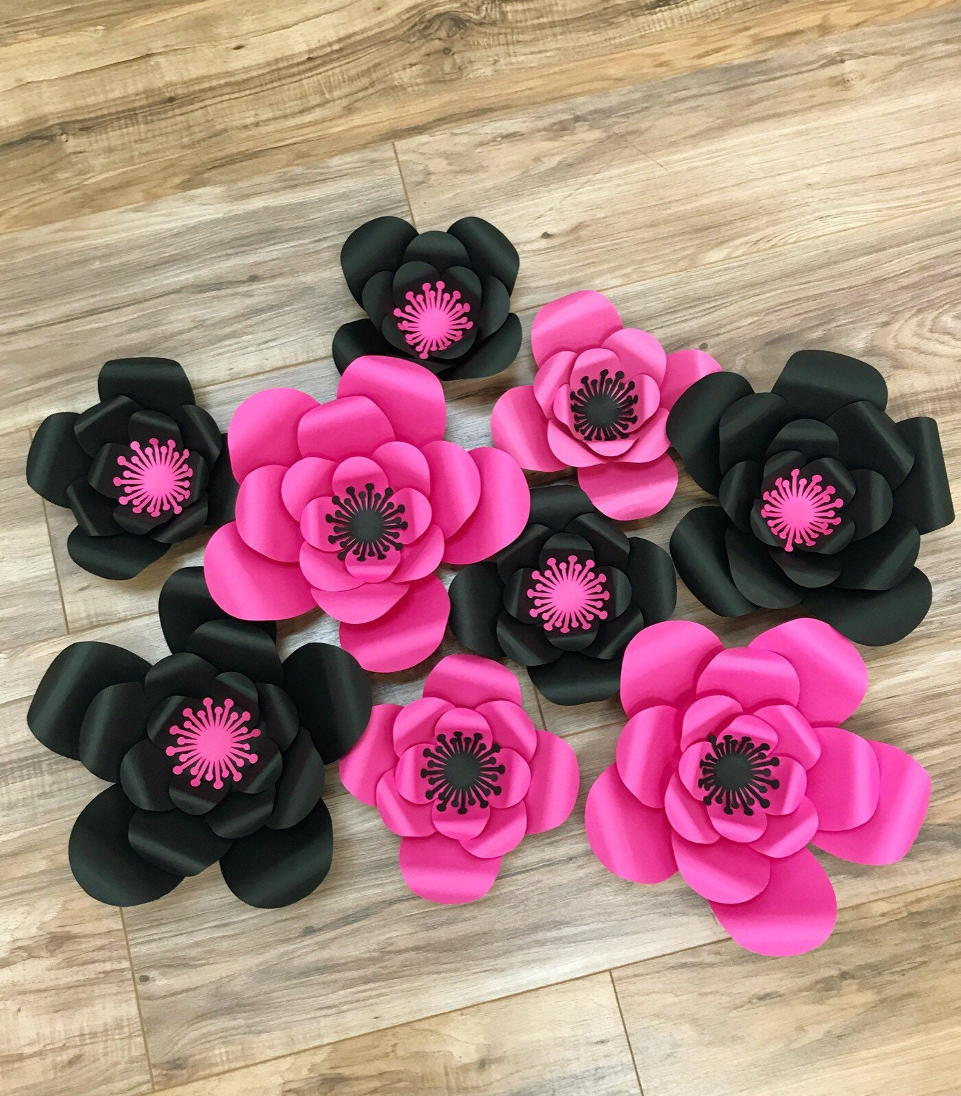 Pink And Black Paper Flower Wall Paper Flower Decorations Etsy