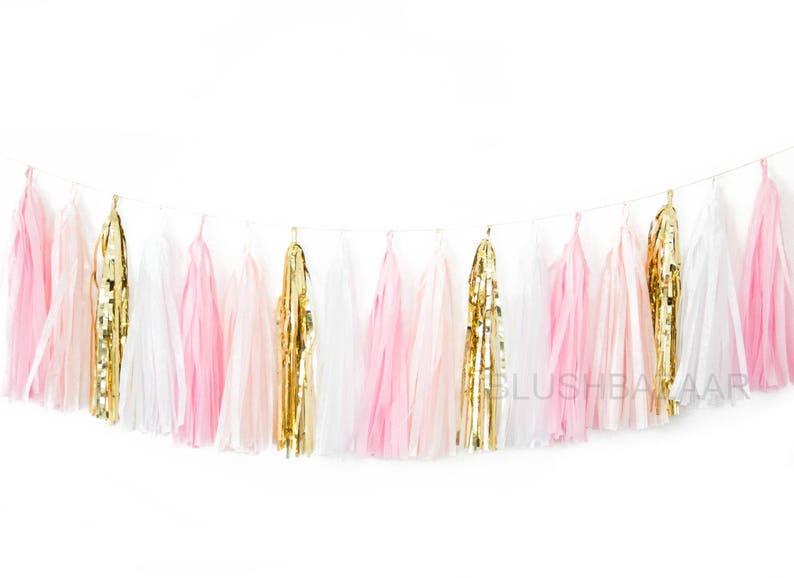 Pink Blush and Gold Tassel Garland  Party Decor Birthday image 0