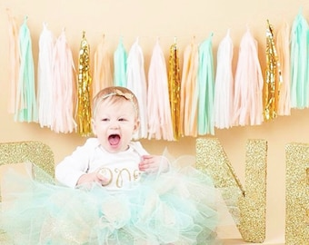 Mint Green and Peach Tassel Garland- Peach Party Decor, Peach Photo Backdrop, Mint Green Baby Shower Decoration Peach and Mint Decor