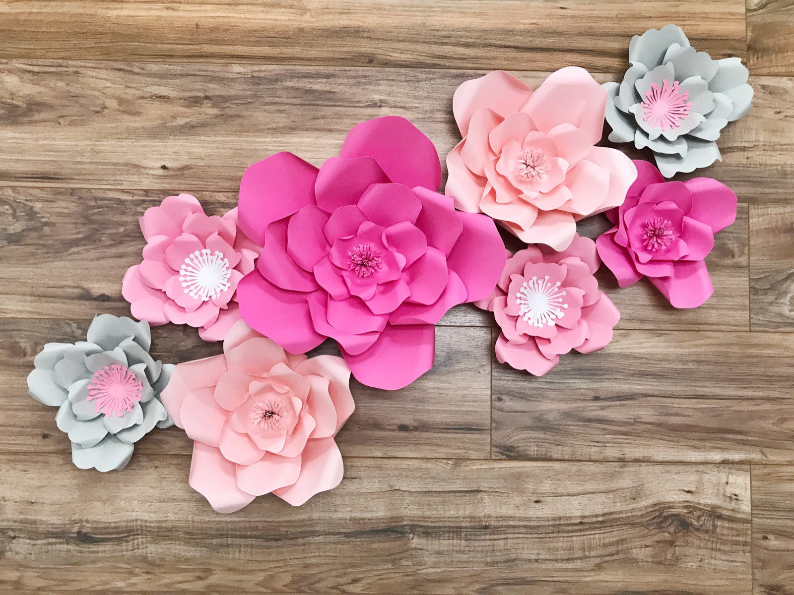 Hot Pink And Gray Paper Flower Wall Wedding Paper Flowers Etsy