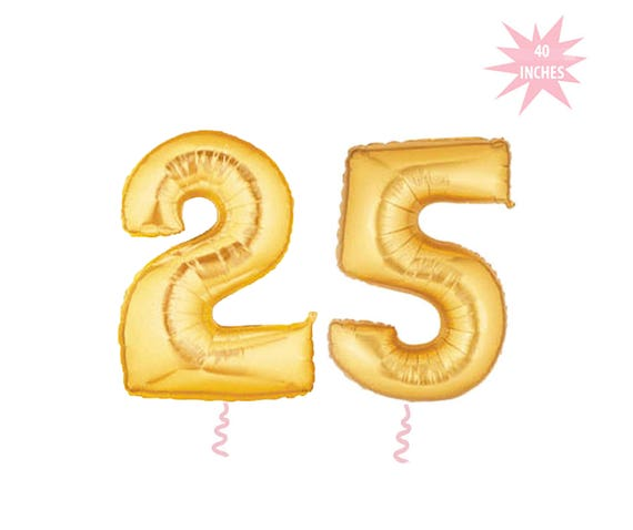 25th Birthday Balloons Gold Number 25