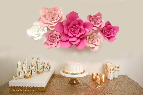 Hot Pink And Pink Paper Flower Backdrop Large Paper Flowers One First Birthday Party Decoration Wedding Shower Bridal Shower Decor