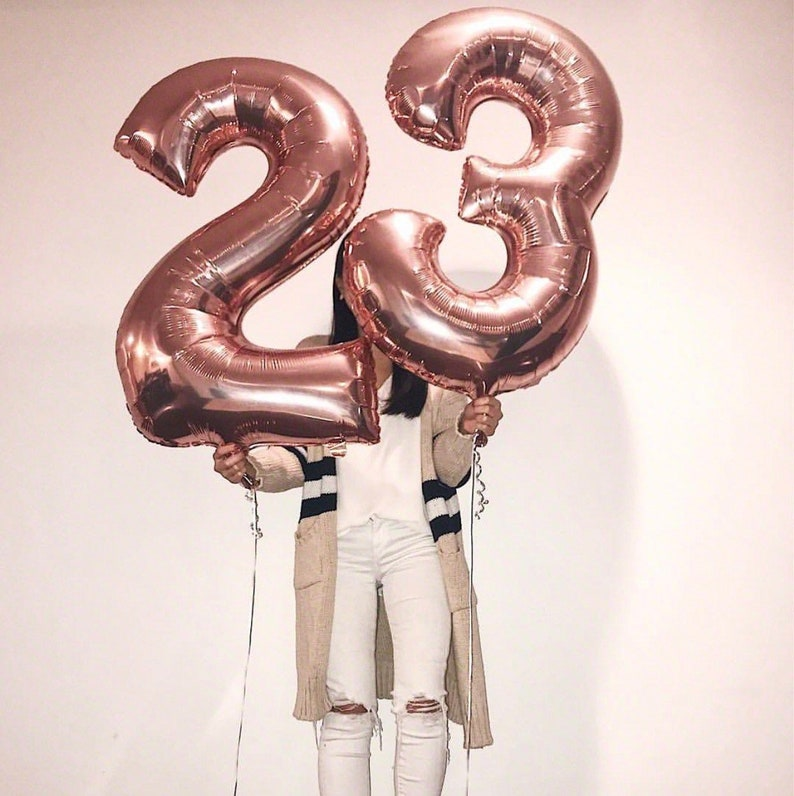 Feeling 23 Birthday Balloons Rose Gold Number