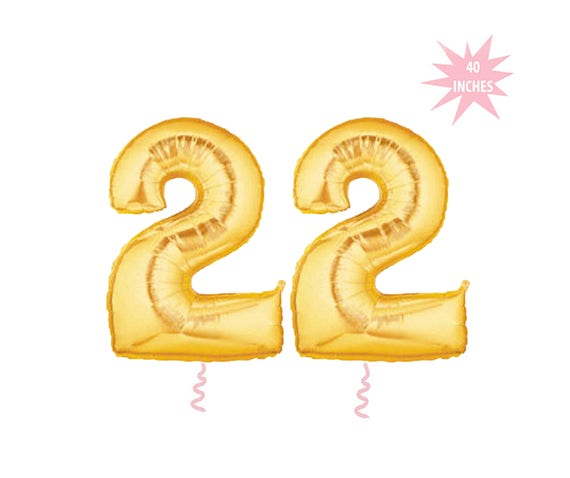Feeling 22 Birthday Balloons Gold Number Swifty Giant 22nd Twenty Two Happy
