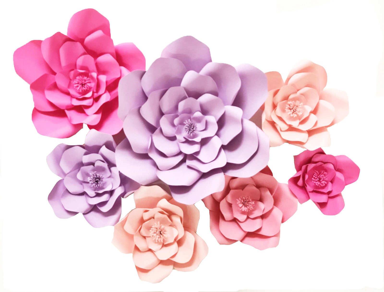 Purple And Pink Paper Flower Wall Set Large Paper Flowers Etsy