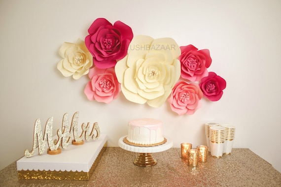 Pink And Cream Paper Flower Wall Wedding Backdrop Large Paper Flowers Bridal Shower Flower Backdrop Decor Paper Flowers Wall Decor