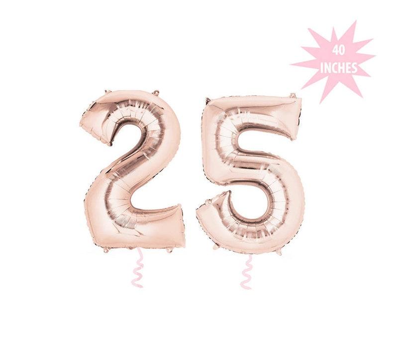 c0dfe85c4344 Rose Gold 25 Luftballons - 34 Zoll Anzahl Ballons, Jumbo Anzahl Ballons, 25  Jahrestag Ballons, 25 Geburtstag Luftballons, Vierteljahrhundert