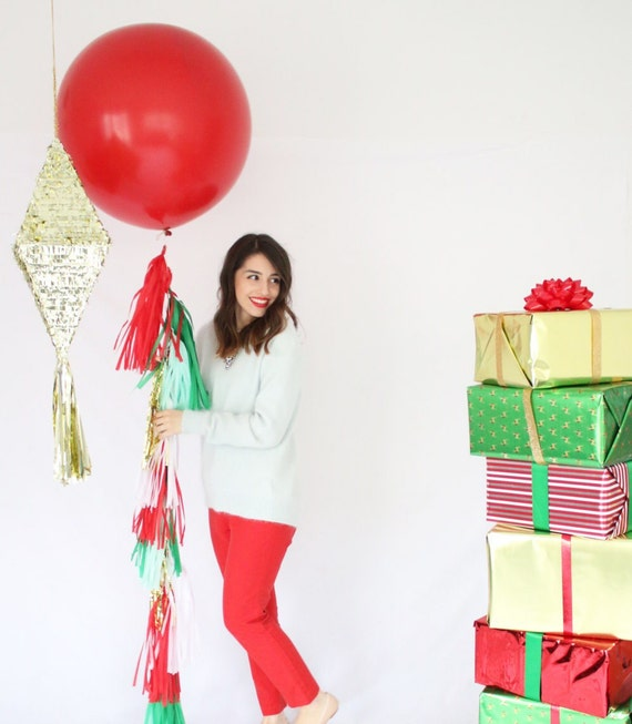 55a5ba8873d6 Giant Red Balloon with Red and Green Tassel Garland - Christmas Party  Decor