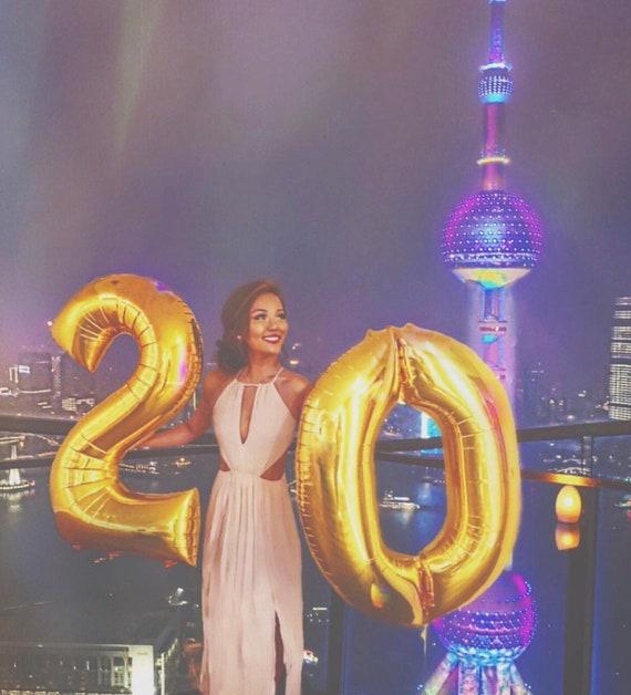 20th Birthday Balloons Gold Number 20 Giant Twenty Happy