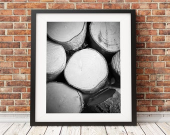 Downloadable images, Instant Digital Download Black and White Logs, Nature, photograph, photography, also available as a print,