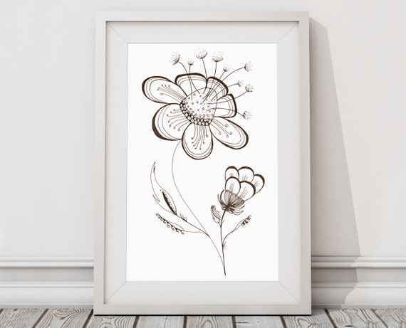 Página de adultos para colorear flores abstractas blanco y | Etsy