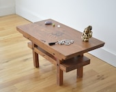 Ready to ship - Reclaimed Wood Meditation Altar - Japanese Torri Inspired - Solid Color