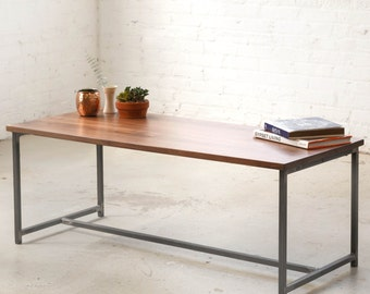 The Flapjack Coffee Table - Walnut with Waxed Steel - Walnut Solid Wood.. Black, White Powder Coat, Raw Steel