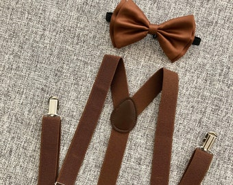 e2cd39c0fa09 Brown suspenders and bow tie, brown suspenders, brown bow tie, suspenders  and bow tie for men, brown suspenders adult, men brown suspenders