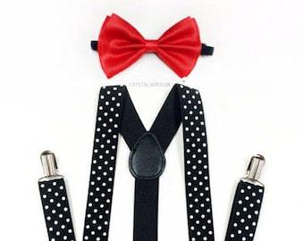men's suspenders, black suspenders, red bowtie, POLKA DOT suspenders, black suspenders, black and red, white polka dot suspenders, black red