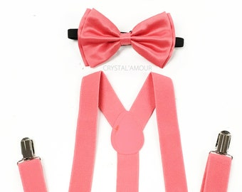 48bb9ccebffd coral bow tie, suspenders and bowtie, coral pink bowtie, coral suspenders,  rustic coral, coral wedding, coral bow, coral bowtie set, coral