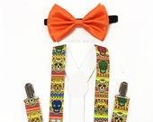 Day of the Dead, Dia de los Muertos, Dia de los Muertos suspenders, Orange bow tie, Halloween Costume, Sugar Skull