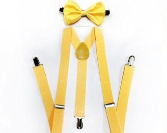 ultima moda design innovativo migliore Set bambino giallo impostato bretelle Papillon farfallino | Etsy
