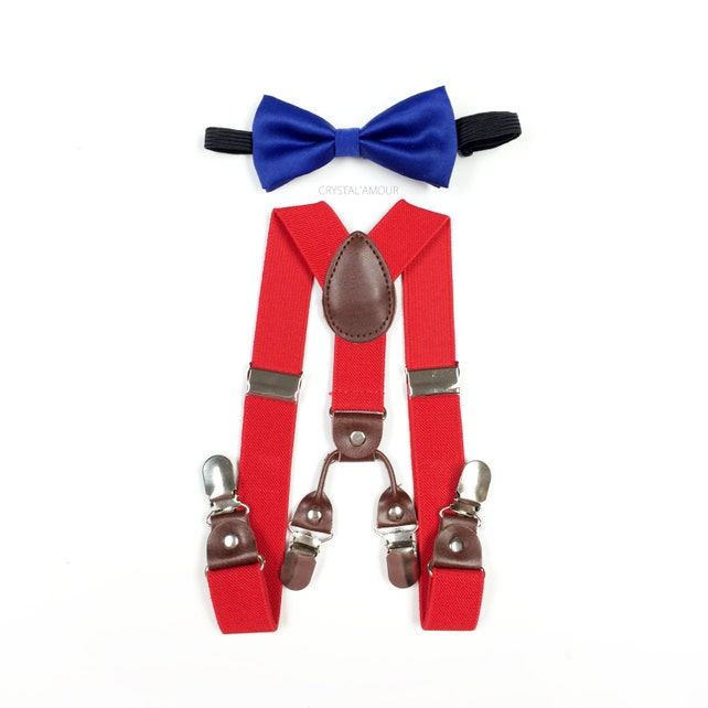baby boy clothes, blue bowtie, red suspenders, double clip suspenders, boys suspenders, blue bow tie, double suspenders, blue and red set