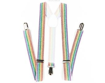 Mens suspenders, Rainbow Suspenders, GLITTER suspenders, rainbow tongue, mens suspender, rainbow pride, rainbow suspenders, Men's suspenders