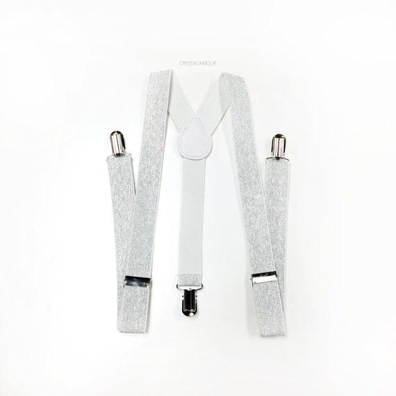 attraktive Farbe präsentieren Original Kauf weiß, Silber Glitter Hosenträger, silber/weiß Hosenträger, Herren  Hosenträger, Hosenträger, Trauzeugen