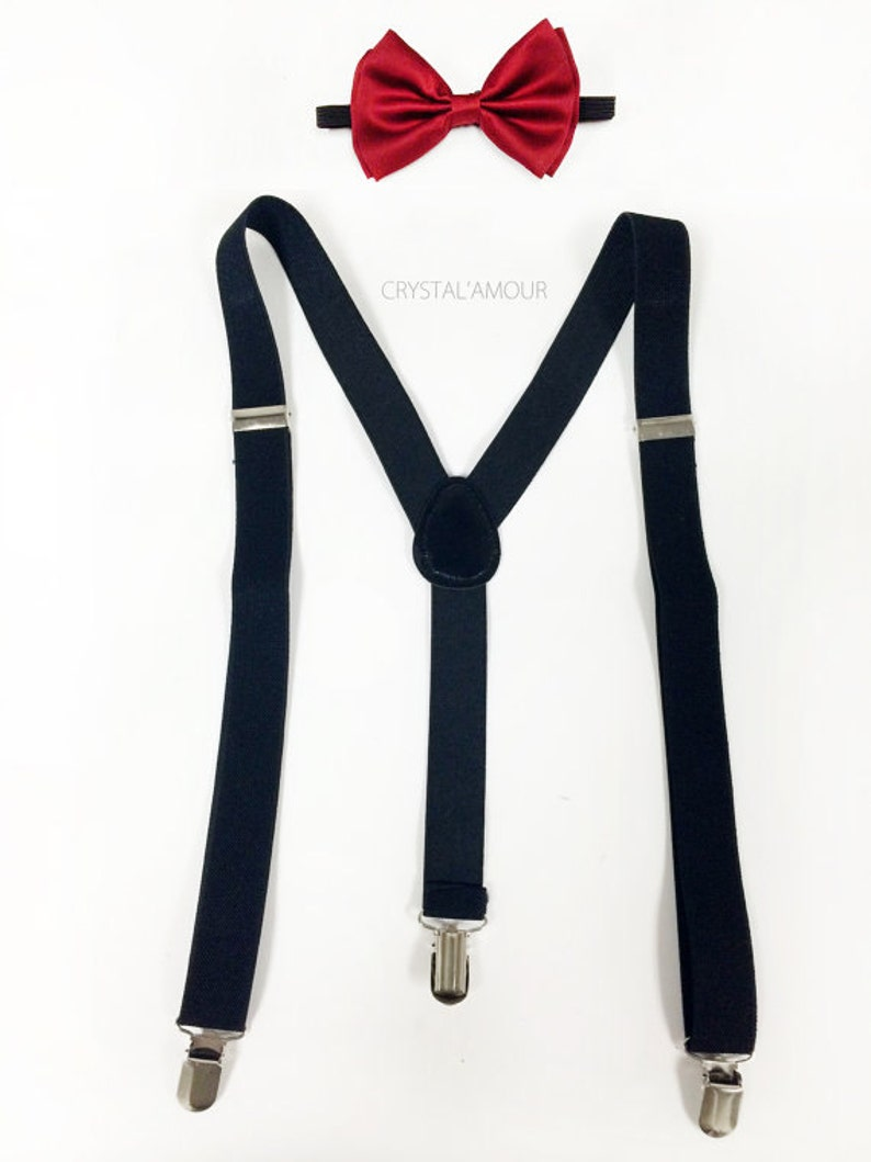 1f813768fdb Men s red bowtie and black suspenders holiday outfit red