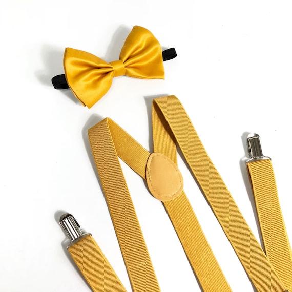 Il meglio del 2019 A basso prezzo nuovi speciali D'oro bowtie e bretelle, bretelle oro, Papillon e bretelle, Groomsmen,  senape, bretelle dorato, dorato arco cravatta (no glitter)
