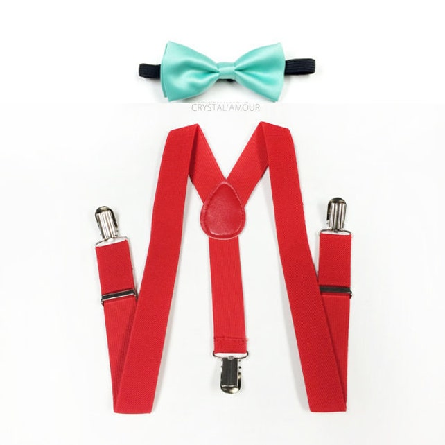 ring bearer outfit, mint bowtie, toddlers bowtie and suspenders, red suspenders and bowtie set, ring bearer, toddlers, baby boys suspenders