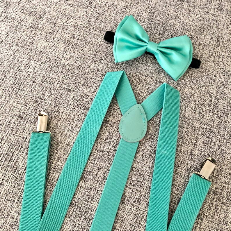 39a8751615ea Bow tie and suspenders set suspenders mint green bow tie | Etsy
