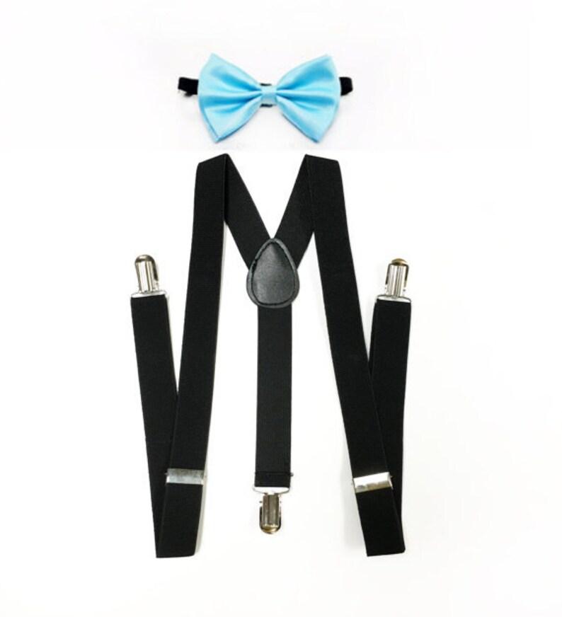 ae13a6182ec6 BLACK suspenders bowtie light blue bowtie sky blue bowtie | Etsy