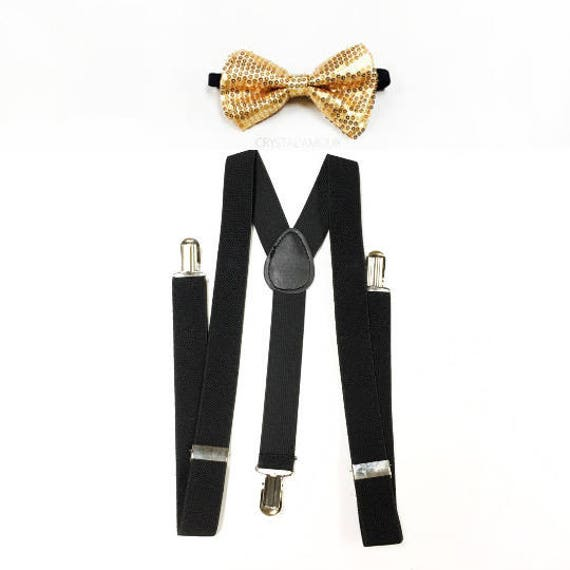 Champaign Gold Suspender and Sequin Bowtie Tuxedo Dress Matching Color