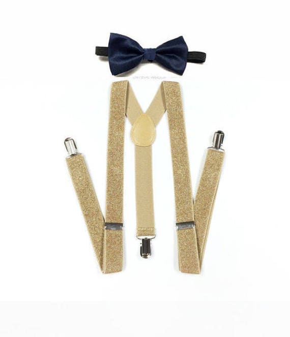 classcic newest style of dirt cheap kids navy bow tie, soft gold glitter suspenders, soft gold suspenders, gold  suspenders, gold glitter suspenders, navy and gold, gold navy
