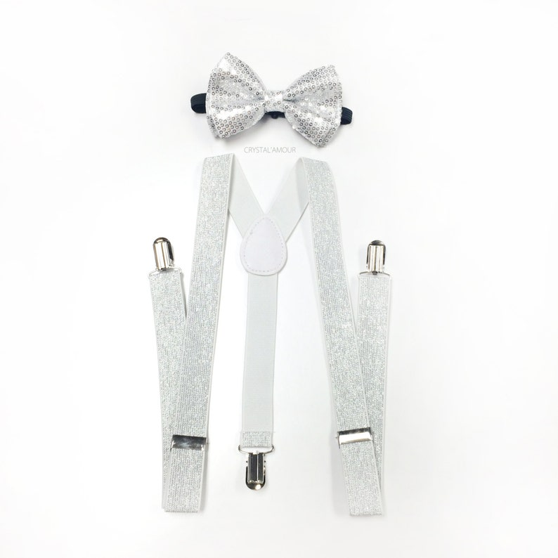 41f10a56ccc Silver bowtie and suspenders set silver sequin bow tie white
