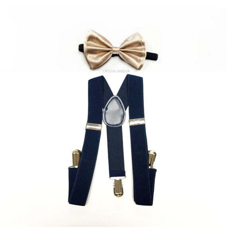 numerousinvariety wholesale outlet search for clearance baby boy clothes, gold bowtie, navy suspenders, gold and blue, blue and  gold, soft gold bow tie, gold bow, navy and gold wedding