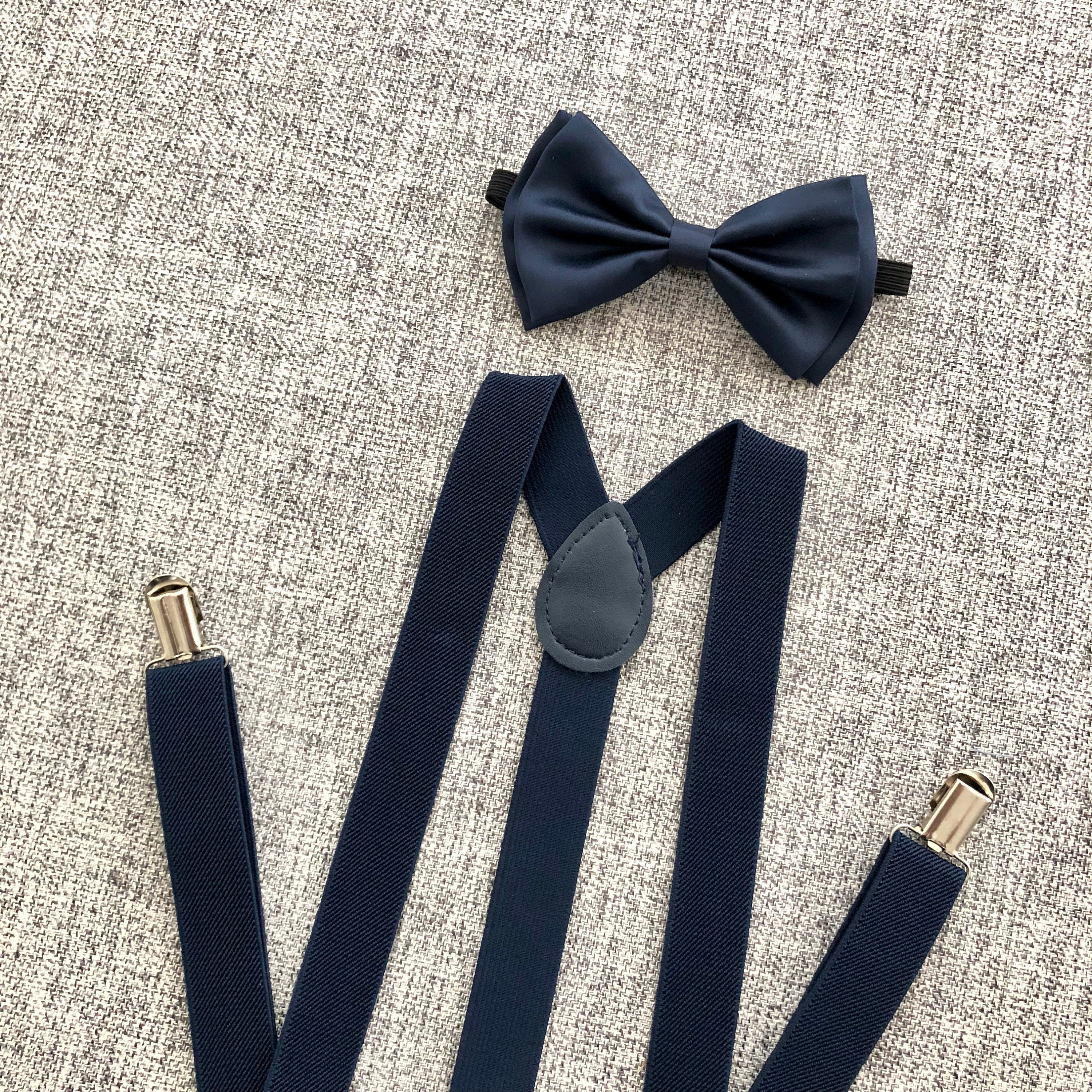 Adult Navy Anchor Logo Suspenders and Bow Tie Set Adjustable Wedding Prom