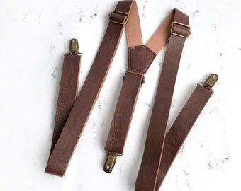 Brown Leather Suspenders, Suspenders, leather suspenders, brown suspenders, suspenders, suspenders for adults boys, leather suspenders brown