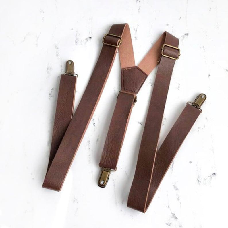 Brown Leather Suspenders Suspenders leather suspenders image 0