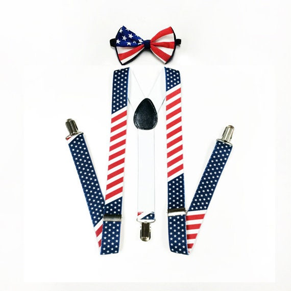 American Flag bretelles, USA drapeau noeud papillon, bretelles Mens, Mens Bow tie, Stars and Stripes, drapeau USA, Memorial Day, Memorial week-end