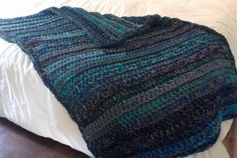 393b1389ebfe Blanket Charcoal gray teal and navy blue throw blanket   Etsy