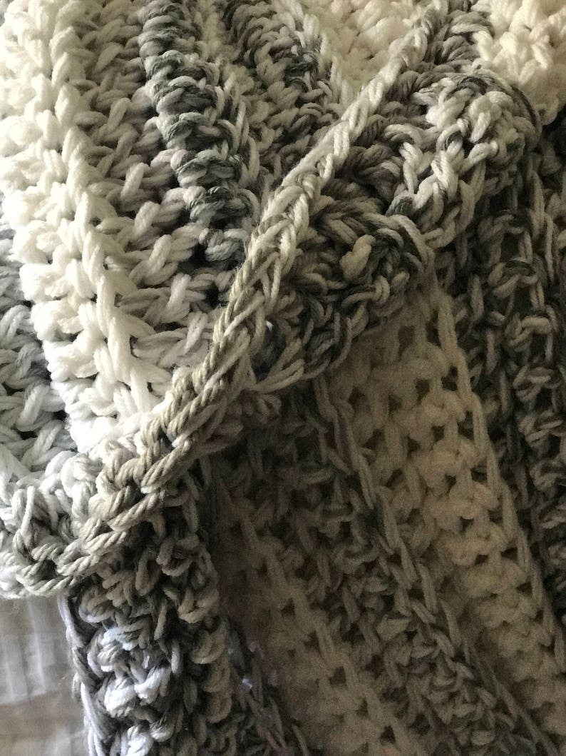 silver and white crochet blanket large throw blanket Blanket crochet throw blanket gray