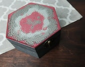 Wooden trinket box red silver metalic shimmering dragon skin keepsake gift for her hand painted treasury jewelry box