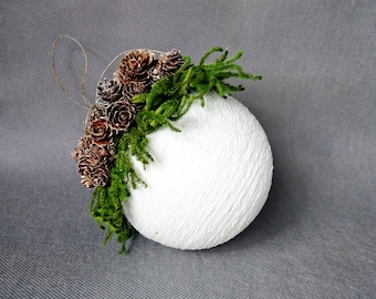 Rustic woodland Christmas tree ornament pine cone cotton cord greenery fir snowy tiny cones decoration decor cozy cottage natural