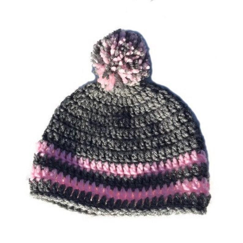 1b223d61499 Crochet striped pom pom beanie pom pom beanie crochet