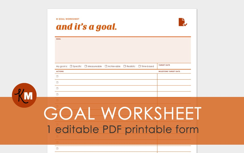 graphic regarding Smart Goals Worksheet Printable referred to as Function Developing Worksheet: 1 Editable Reason Atmosphere PDF Report - Printer Pleasant and Expertly Constructed
