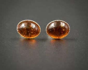 SP..Amber stud earrings amber, sterling silver oval cabochon stud gemstone earrings amber sterling silver post earrings baltic amber jewelry