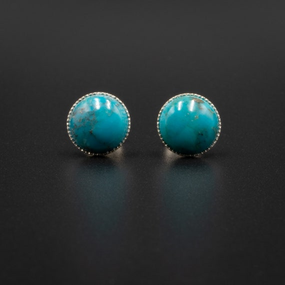 4af1bf3bb Natural turquoise stud earrings turquoise sterling silver   Etsy