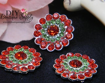 Christmas Rhinestone Buttons Red & Green - Flatback Metal Embellishment - Scrapbooking Headband Supplies flower centers - 5 pcs 21mm 190050