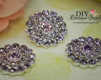 Violet Lavender Crystal Rhinestone buttons - Flatback Crystal Embellishment for flower centers -  5 pcs 22mm 317044