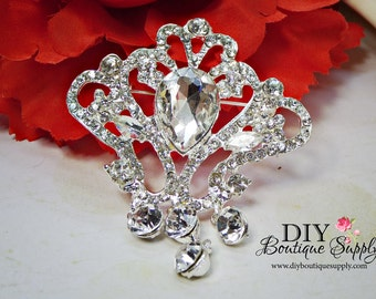 Crystal Wedding Brooch with Triple Dangle - Rhinestone Brooch Pin - Dangle Brooch Wedding Bridal Sash Pin Cake brooch 65mm 941198