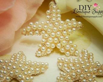 30mm Large Rose Gold Starfish Pearl buttons Flatback Metal Embellishment Bridal Wedding Supplies flower centers 3 pcs 199070